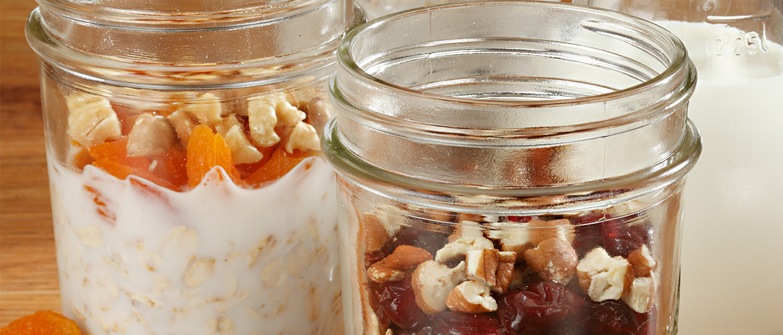 mason jars with overnight oatmeal inside