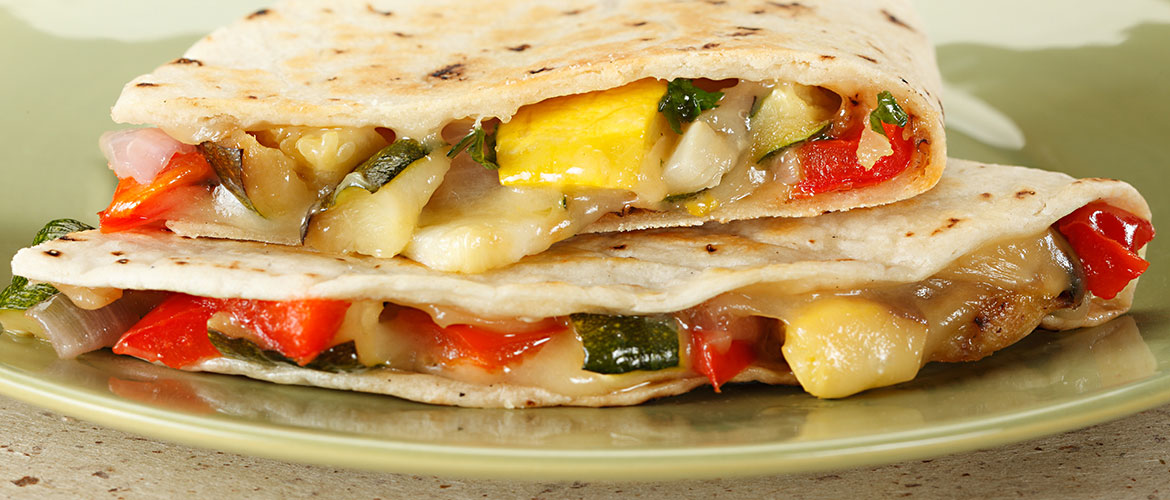 roasted vegetables in a quesadilla
