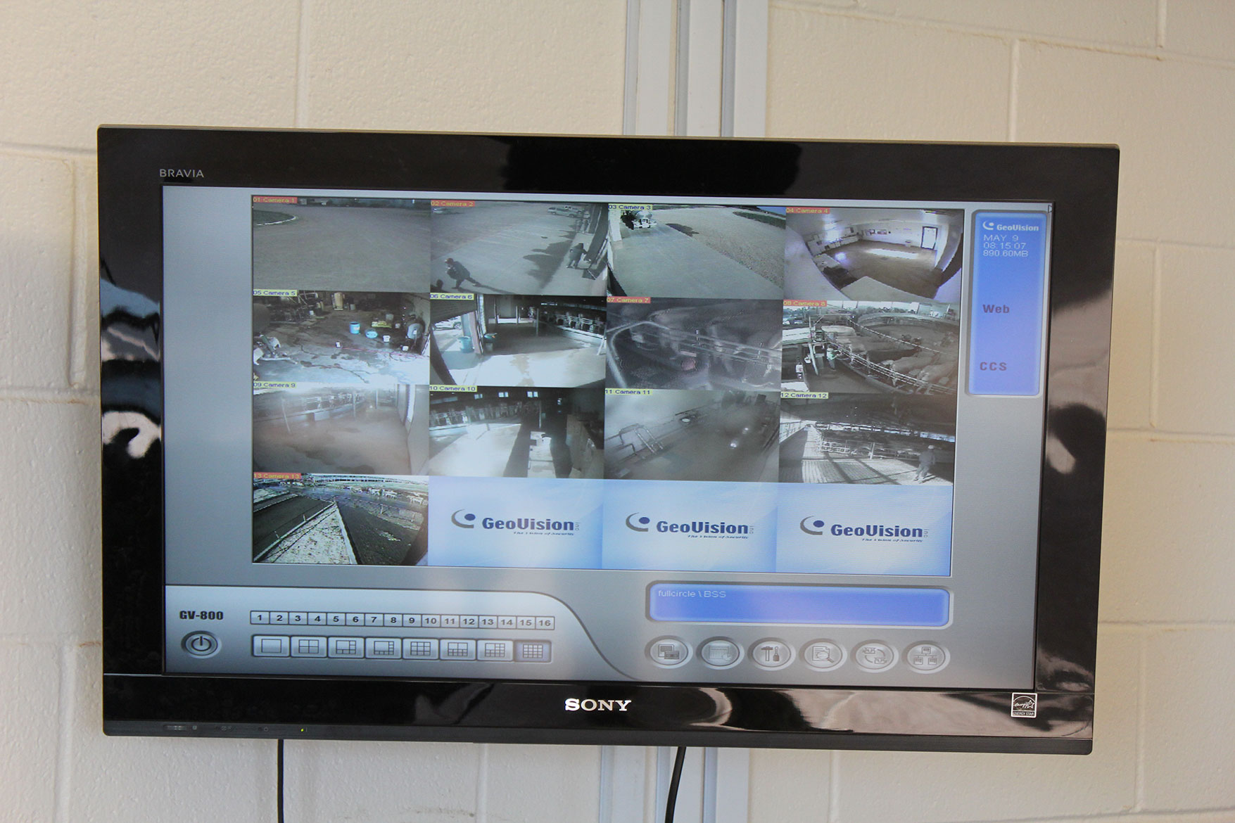 Cameras monitor various places at the dairy farm to ensure security of animals and people.