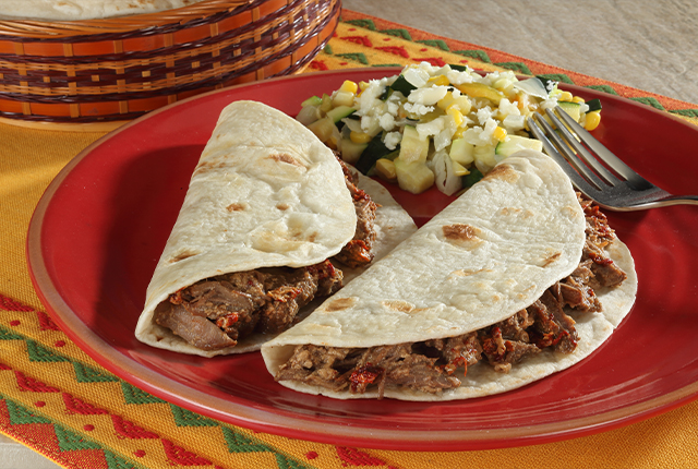 Milk-Braised Beef Tacos with Calabacitas