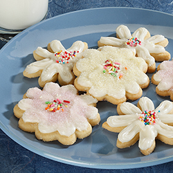 butter yums cookies on a blue plate