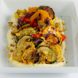 Roasted Vegetables With Yogurt Lime Sauce
