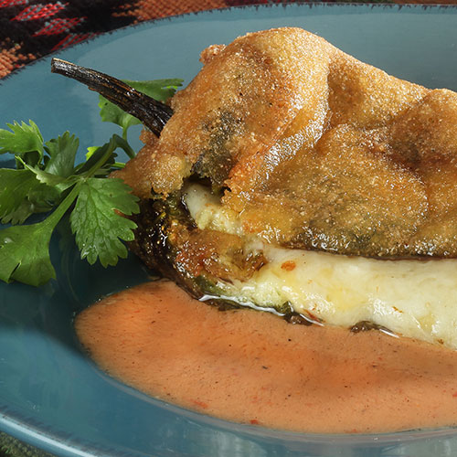chile rellenos with charred tomato sauce
