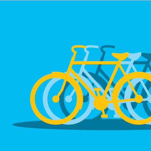 blue background with the outline of a bicycle