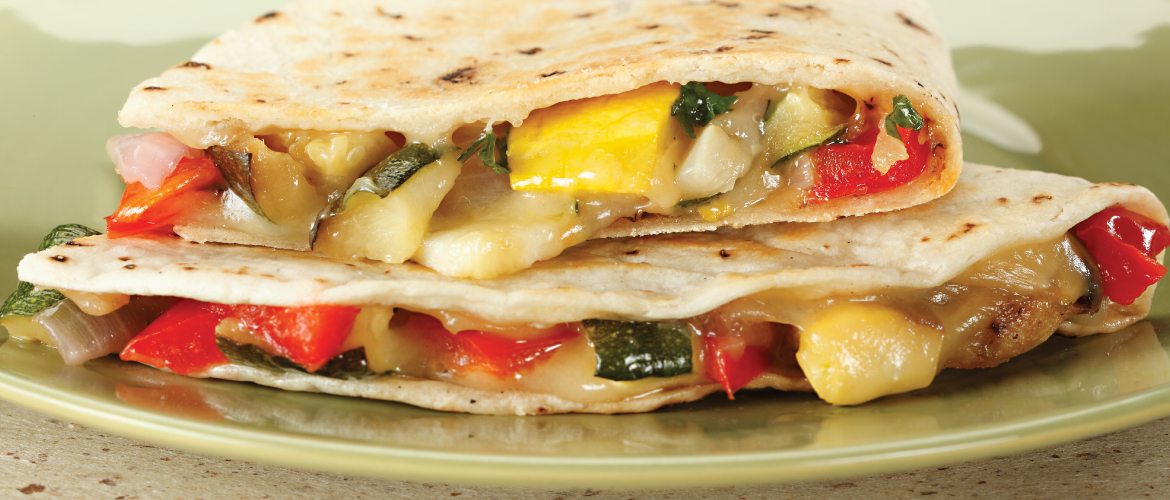 cheese and vegetable quesadilla