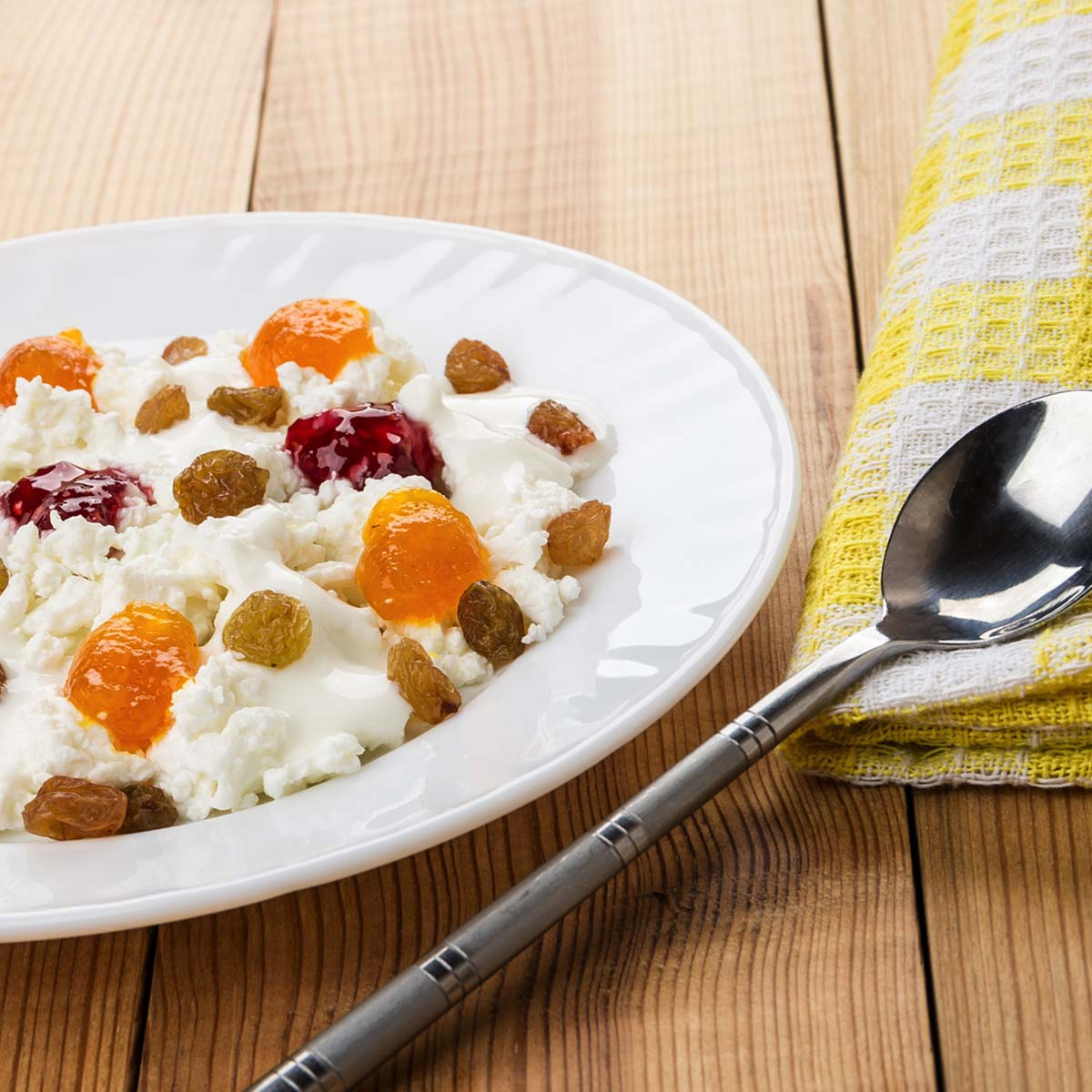 bowl of cottage cheese topped with fruit