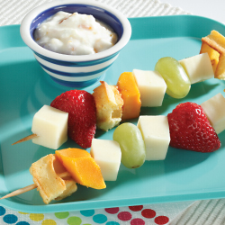 fruit and cheese kabobs with yogurt dip