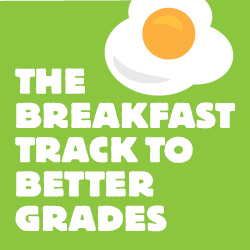 "green background with an illustrated egg and the words ""the breakfast track to better grades"""