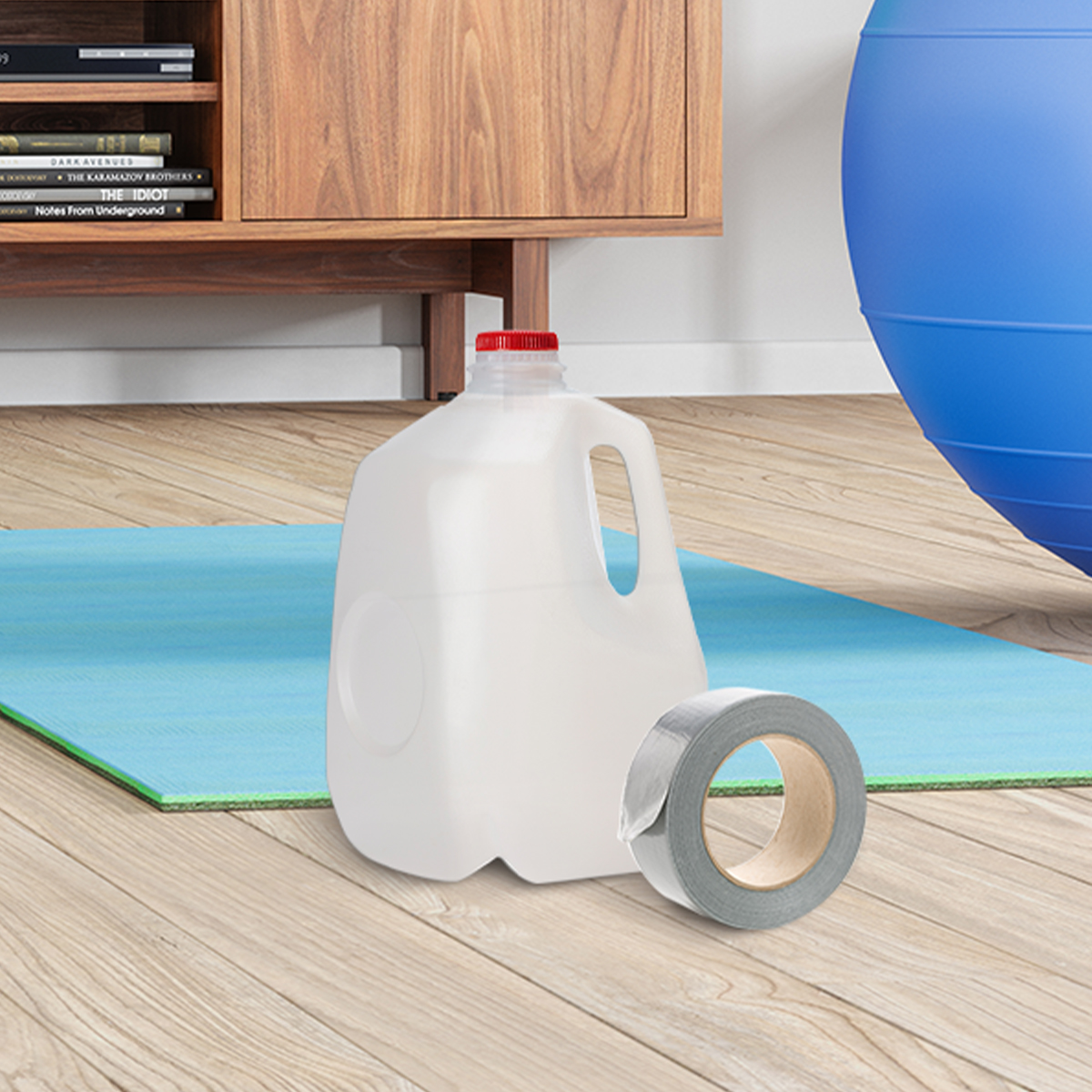 milk jug in front of a yoga mat