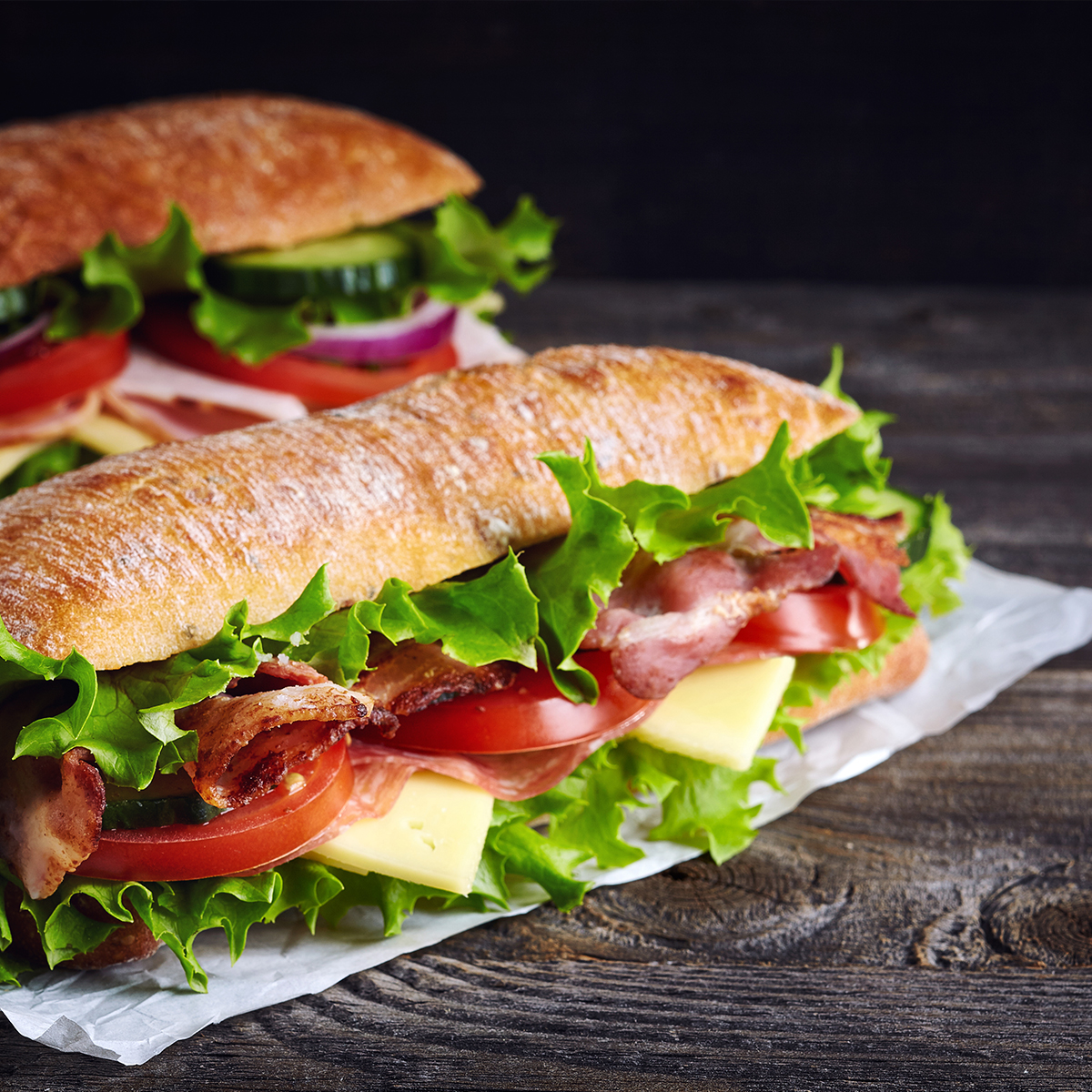 photo of a beautiful sub sandwich