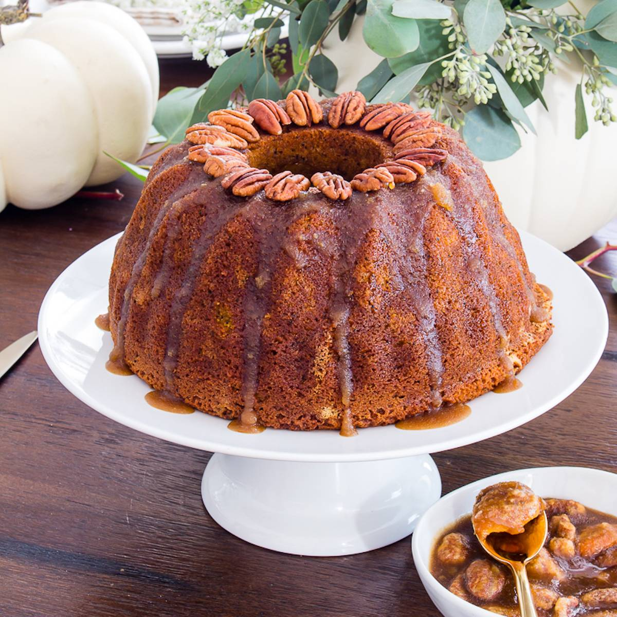 chai pumpkin bundt cake on a white plate
