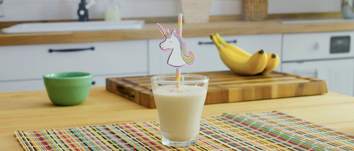 funfetti smoothie with unicorn straw