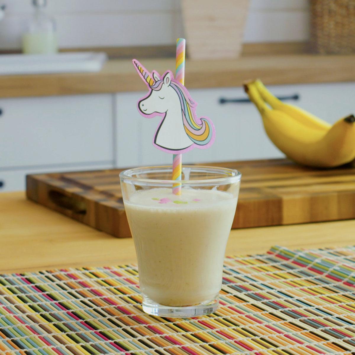 funfetti smoothie with unicorn straw