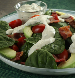 greek yogurt dressing on a salad