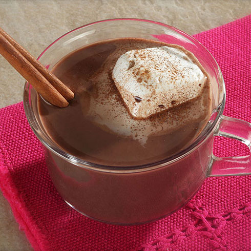 hot chocolate with a cinnamon stick