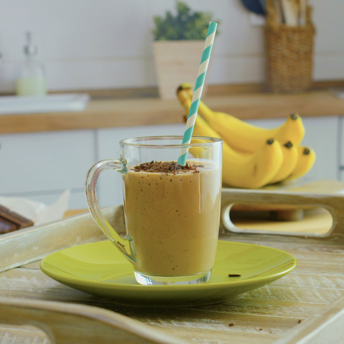 mocha latte smoothie on a kitchen counter