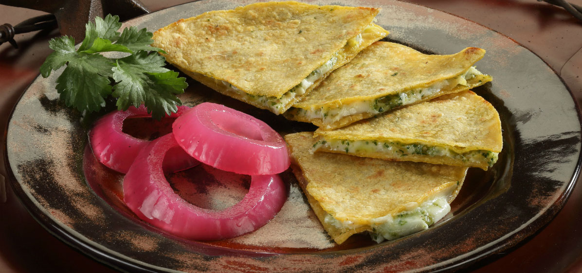 cheese quesadilla with pickled onion