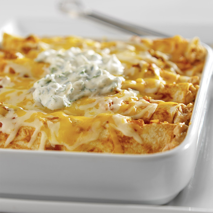 chicken enchiladas with yogurt topping