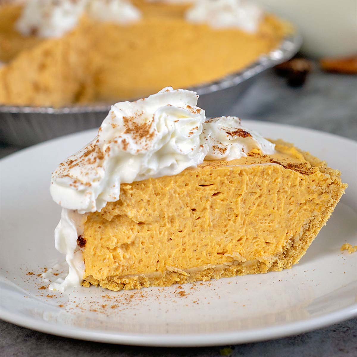 slice of no bake pumpkin cheesecake