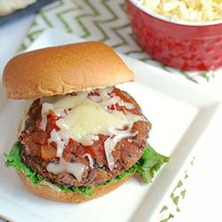 black bean burger on a bun with cheese