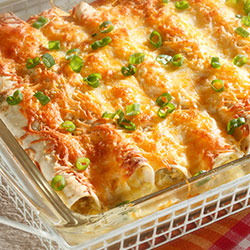 chicken enchiladas in a casserole dish