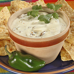 white queso with cilantro garnish