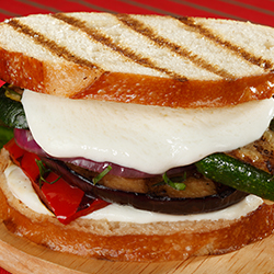 mozzarella and grilled vegetable sandwich