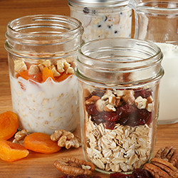 mason jars with overnight oatmeal inside