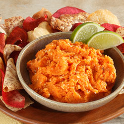 sweet potato dip with lime garnish