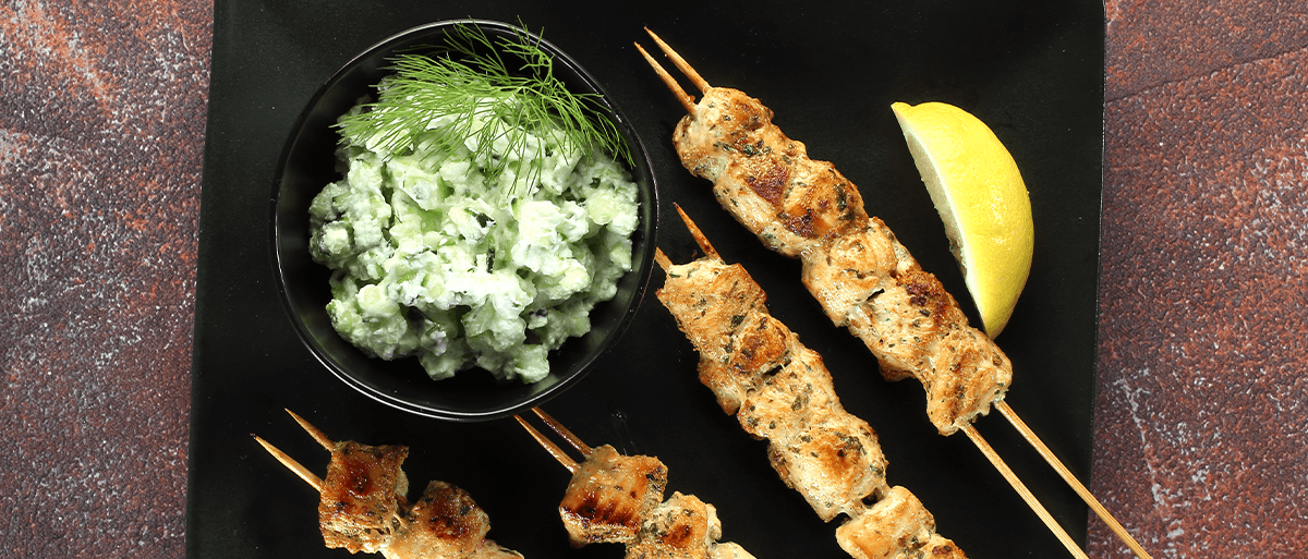 Yogurt-Marinated Chicken Kabobs With Tzatziki Sauce