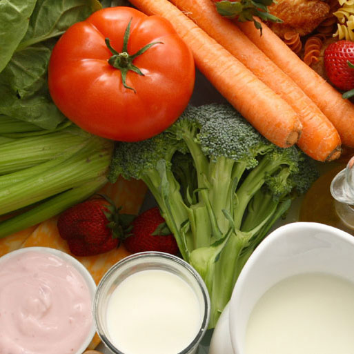 fruits, vegetables, dairy, grains and meat as part of the DASH diet