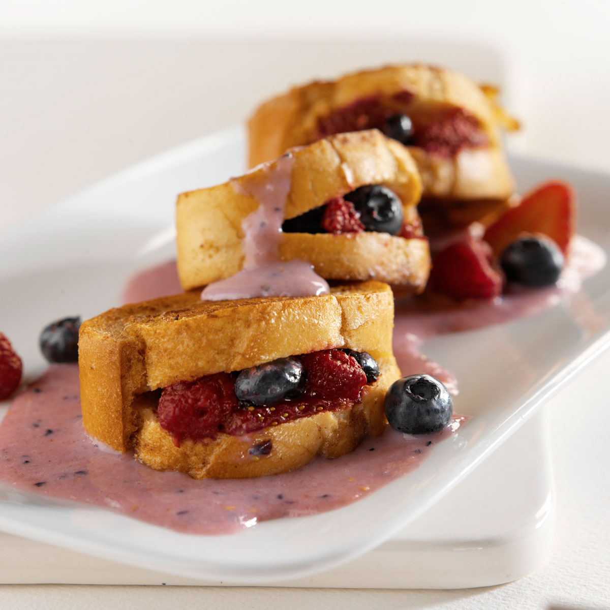berry stuffed french toast with yogurt sauce